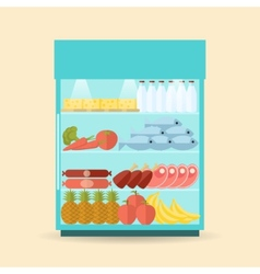 Supermarket shelf flat vector