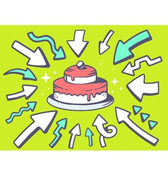 Arrows point to icon of home cake on gre vector