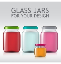 Template of glass jars bottle juice jam liquids vector