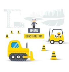 Construction site concept of city building vector