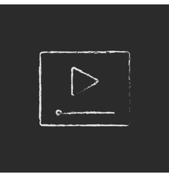 Video player icon drawn in chalk vector