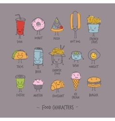 Food characters gray vector