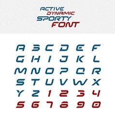 Sport techno font alphabet letters skew italic vector