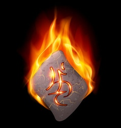 Burning stone with magic rune vector