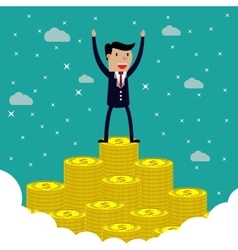 Businessman standing on the huge money staircase vector