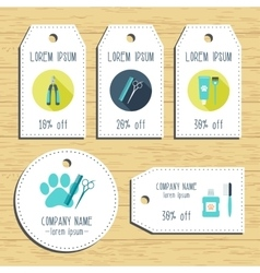 Grooming discount gift tags ready to use flat vector