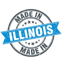 Made in illinois blue round vintage stamp vector