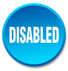 Disabled blue round flat isolated push button vector