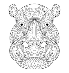 Hippopotamus head coloring for adults vector