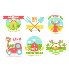 Agro badges cartoon vector