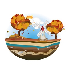 Autumn Windmill Island vector image vector image
