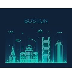 Boston skyline trendy linear vector image vector image