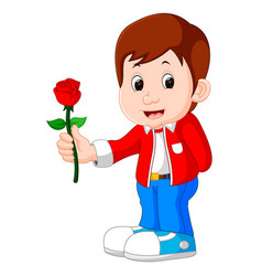 boy with a rose flower cartoon vector image