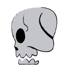 Comic skull human side view image vector