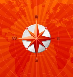 compass on world map vector image vector image