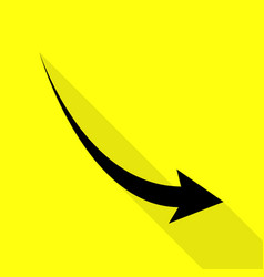 Declining arrow sign black icon with flat style vector