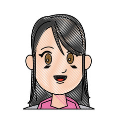 Drawing girl young smiling close eyes vector