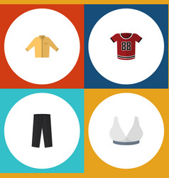 Flat icon garment set of t-shirt banyan pants vector