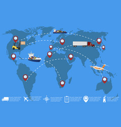 Global network of commercial cargo transportation vector