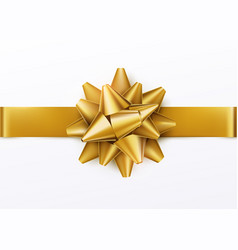 gold gift bow with horizontal ribbon isolated on vector image