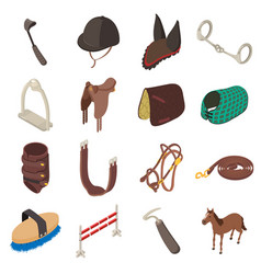 Horse sport equipment icons set isometric style vector