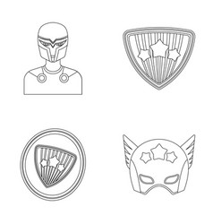 Man mask cloak and other web icon in outline vector
