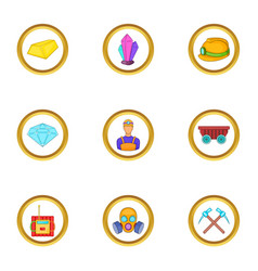 Miner work icons set cartoon style vector
