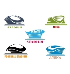 Modern sport stadiums and arenas abstract icons vector
