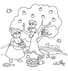 Mom and son with apple tree vector