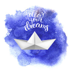 Paper toy ship on blue watercolored background vector