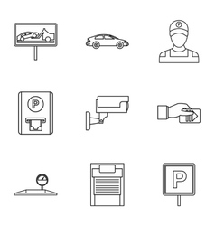 Parking station icons set outline style vector