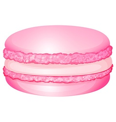 Pink macaron with cream inside vector