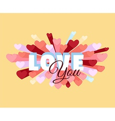 Romance heart spray LOVE greeting card or vector image