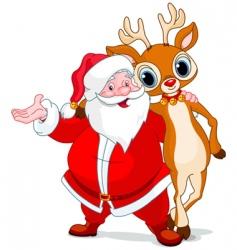 Santa and his reindeer rudolf vector