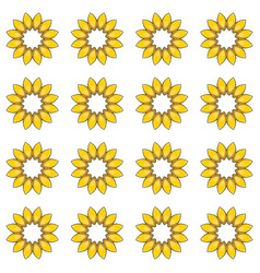 Seamless pattern with cartoon yellow flowers vector