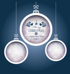 set of 3 christmas baubles on dark blue background vector image vector image