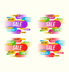 Set of colorful horizontal dynamic style sale vector