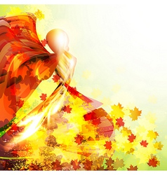 Silhouette of the woman dancing in the autumn vector image vector image