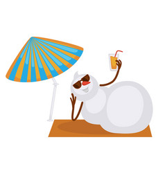 snowman in sunglasses with fresh drink lies on vector image