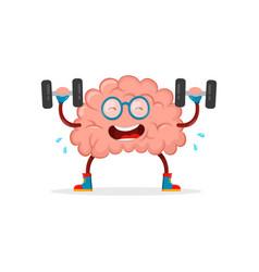 train your brain brain cartoon flat vector image