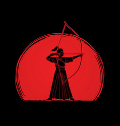 Woman bowing kyudo archer sport girl vector