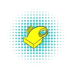 Yellow spiral arrow icon comics style vector