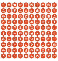 100 favorite work icons hexagon orange vector image