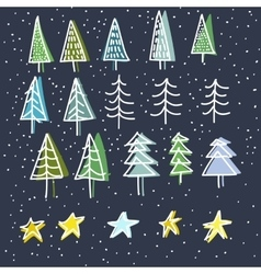 Set of 15 different fir christmas trees hand vector