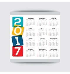2017 calendar template week starts from sunday vector