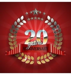 Anniversary 20th gold wreath with red ribbon vector image