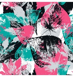 Abstract seamless pattern with leaves and flowers vector image