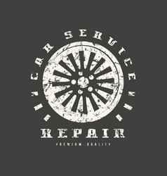 Car service badge with shabby texture vector