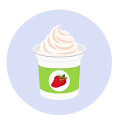 strawberry yogurt plastic cup milk cream product vector image