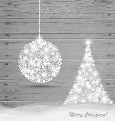 Christmas ball and Christmas tree with snowflakes vector image
